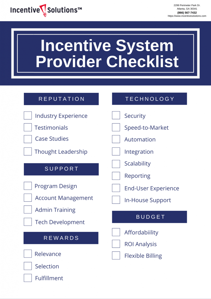 Checklist for Choosing an Incentive System Provider